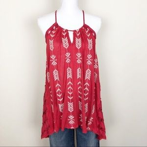 Free people 🍁Aztec embroidered open back tunic